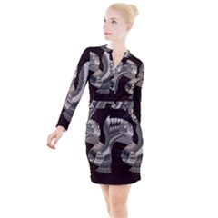Ornament Spiral Rotated Button Long Sleeve Dress