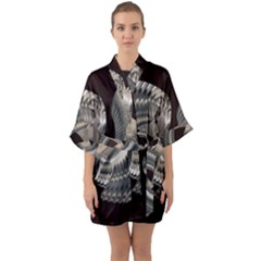 Ornament Spiral Rotated Quarter Sleeve Kimono Robe by Bajindul