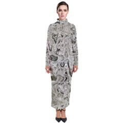 Abstract Stone Texture Turtleneck Maxi Dress by Bajindul