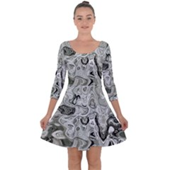 Abstract Stone Texture Quarter Sleeve Skater Dress