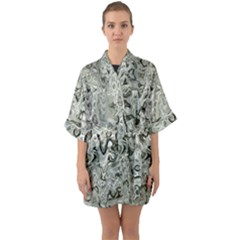 Abstract Stone Texture Quarter Sleeve Kimono Robe by Bajindul
