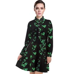 Botanical Dark Print Long Sleeve Chiffon Shirt Dress by dflcprintsclothing