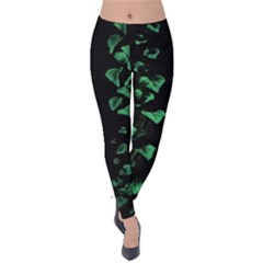 Botanical Dark Print Velvet Leggings by dflcprintsclothing