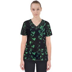 Botanical Dark Print Women s V Neck Scrub Top by dflcprintsclothing