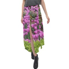 Late April Purple Tulip Velour Split Maxi Skirt