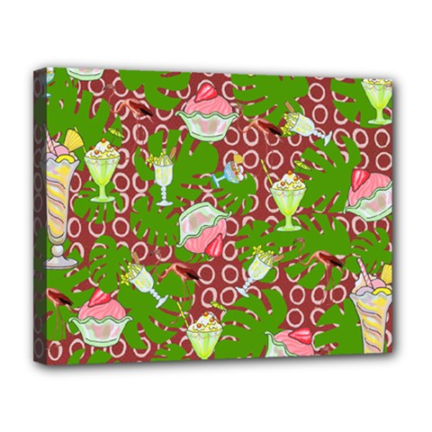 Ice Cream Tropical Pattern Canvas 14  X 11  (stretched)