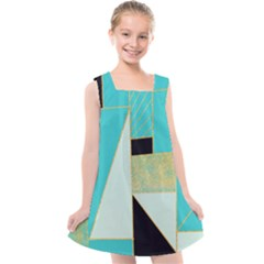Turquoise,black And Gold Kids  Cross Back Dress by VeataAtticus