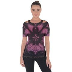 Glitch Art Grunge Distortion Shoulder Cut Out Short Sleeve Top by Mariart