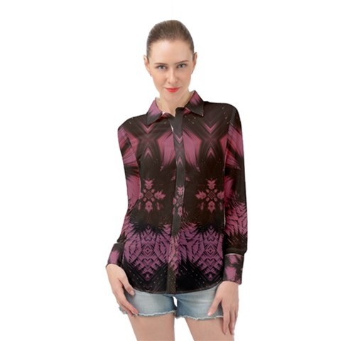 Glitch Art Grunge Distortion Long Sleeve Chiffon Shirt by Mariart