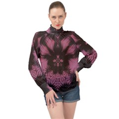 Glitch Art Grunge Distortion High Neck Long Sleeve Chiffon Top by Mariart