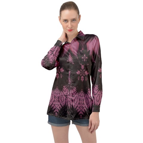 Glitch Art Grunge Distortion Long Sleeve Satin Shirt by Mariart