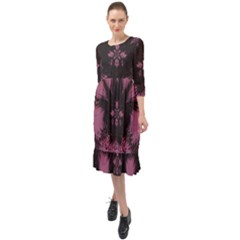 Glitch Art Grunge Distortion Ruffle End Midi Chiffon Dress by Mariart
