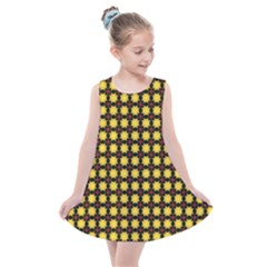 Yellow Pattern Green Kids  Summer Dress