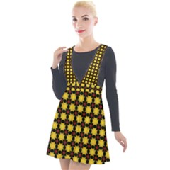 Yellow Pattern Green Plunge Pinafore Velour Dress