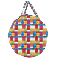 Lego Background Rainbow Giant Round Zipper Tote by AnjaniArt