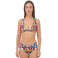 Lego Background Rainbow Double Strap Halter Bikini Set by AnjaniArt