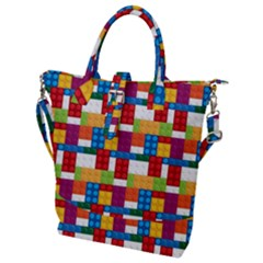 Lego Background Rainbow Buckle Top Tote Bag