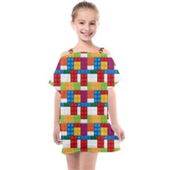 Lego Background Rainbow Kids  One Piece Chiffon Dress by AnjaniArt