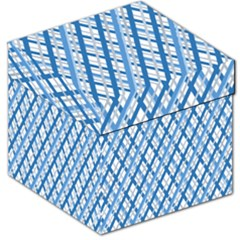 Geometric Overlay Blue Storage Stool 12