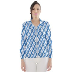 Geometric Overlay Blue Women s Windbreaker