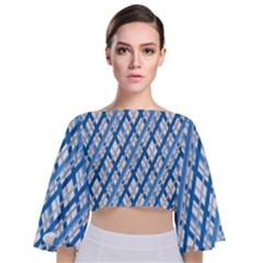 Geometric Overlay Blue Tie Back Butterfly Sleeve Chiffon Top