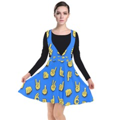 Emojis Hands Fingers Plunge Pinafore Dress