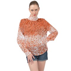 Scrapbook Orange Shades High Neck Long Sleeve Chiffon Top by HermanTelo