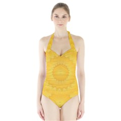 Wave Lines Yellow Halter Swimsuit by HermanTelo