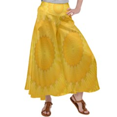 Wave Lines Yellow Satin Palazzo Pants by HermanTelo