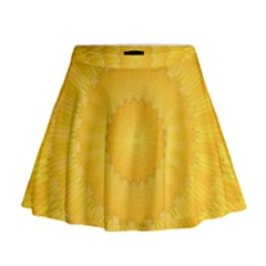 Wave Lines Yellow Mini Flare Skirt by HermanTelo