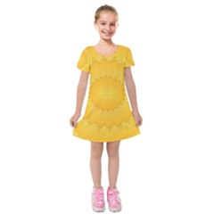 Wave Lines Yellow Kids  Short Sleeve Velvet Dress by HermanTelo