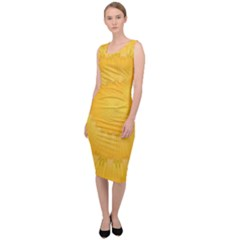 Wave Lines Yellow Sleeveless Pencil Dress by HermanTelo
