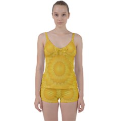 Wave Lines Yellow Tie Front Two Piece Tankini