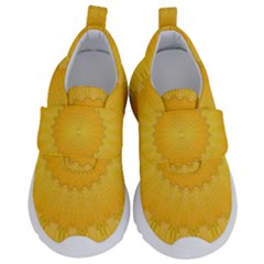 Wave Lines Yellow Kids  Velcro No Lace Shoes by HermanTelo