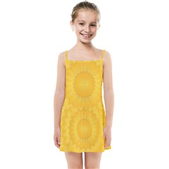 Wave Lines Yellow Kids  Summer Sun Dress