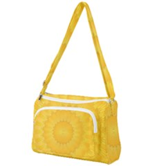 Wave Lines Yellow Front Pocket Crossbody Bag