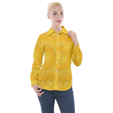 Wave Lines Yellow Women s Long Sleeve Pocket Shirt by HermanTelo