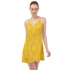 Wave Lines Yellow Summer Time Chiffon Dress