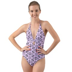 Texture Tissue Seamless Flower Halter Cut-out One Piece Swimsuit