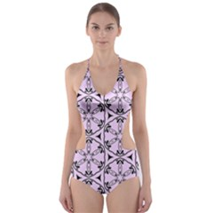 Texture Tissue Seamless Flower Cut Out One Piece Swimsuit