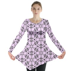 Texture Tissue Seamless Flower Long Sleeve Tunic  by HermanTelo