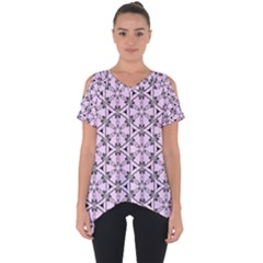 Texture Tissue Seamless Flower Cut Out Side Drop Tee