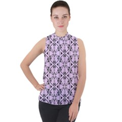 Texture Tissue Seamless Flower Mock Neck Chiffon Sleeveless Top by HermanTelo