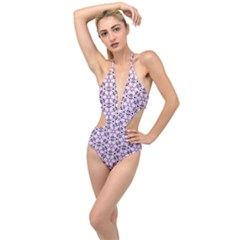 Texture Tissue Seamless Flower Plunging Cut Out Swimsuit