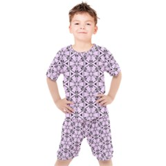Texture Tissue Seamless Flower Kids  Tee And Shorts Set