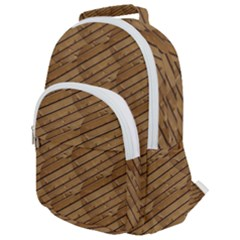 Wood Texture Wooden Rounded Multi Pocket Backpack
