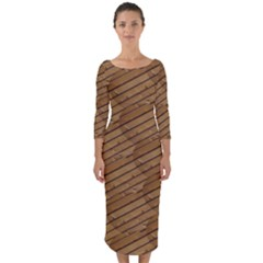 Wood Texture Wooden Quarter Sleeve Midi Bodycon Dress by HermanTelo