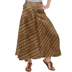 Wood Texture Wooden Satin Palazzo Pants by HermanTelo