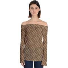 Wood Texture Wooden Off Shoulder Long Sleeve Top