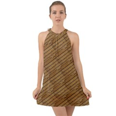 Wood Texture Wooden Halter Tie Back Chiffon Dress by HermanTelo